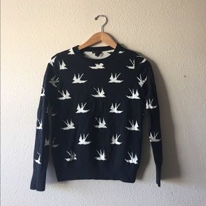 FOREVER 21 black & white swallow bird sweater
