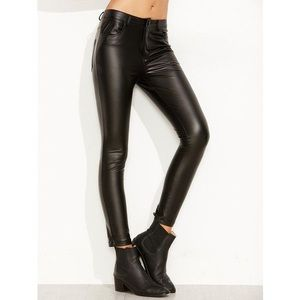 TOPSHOP 'Debbie' High Waist Faux Leather Pants