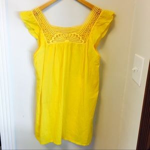 J. Crew yellow sundress/tunic with details at top