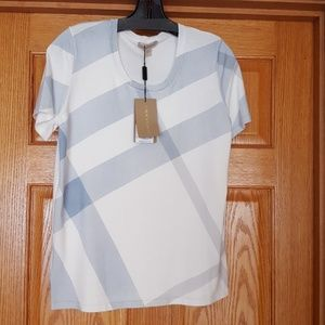 NWT BURBERRY BRIT $375 WHITE AND LUPIN BLUE TOP