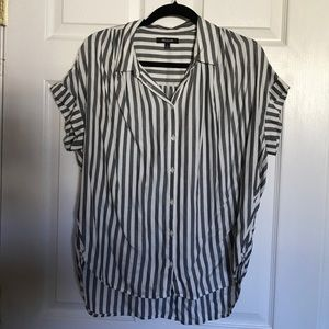 Madewell Central Drapey Button Stripe Shirt Blouse