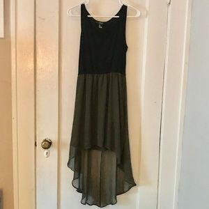 High-Low Dress; Black Top and Army Green Skirt