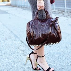 Alexander Wang Oxblood Pebbled Patent Rocco bag