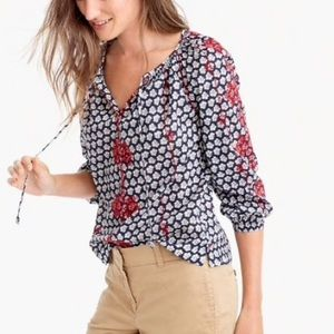 Jcrew Embroidered TieNeck Printed Indian Voile Top