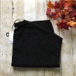 Black Cable Knit Ponho
