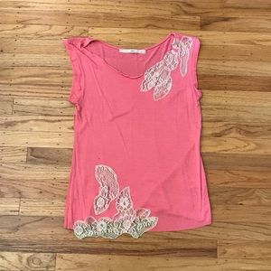 Anthro pink top with cream lace detail