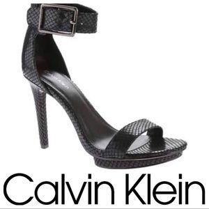 Calvin Klein Vivian Faux Snake Skin Strappy Heels