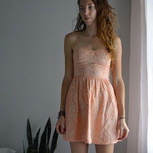 H&M Babydoll Orange and Cream Dress