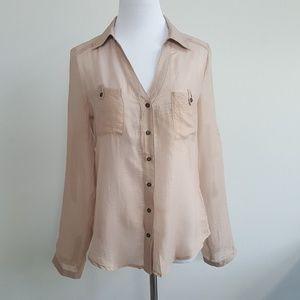 Bebe Tan Shimmer Sheer Button Down Shirt