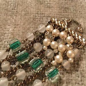 Jewelry - Vintage Glass Pearl Bracelet, Green Vintage