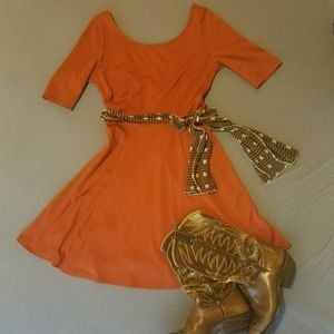 Burnt Orange Vintage Inspired Dress