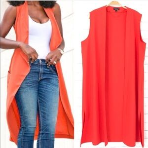 TopShop Long Orange open tailored Vest size 8
