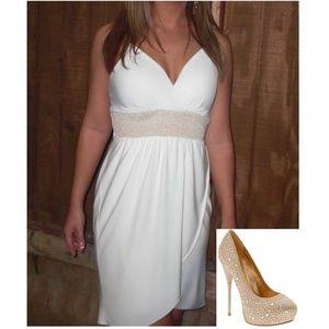 Guess Ivory Faux-Wrap Dress, Sz M