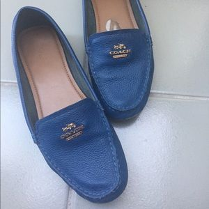 Blue Coach leather loafers size 8