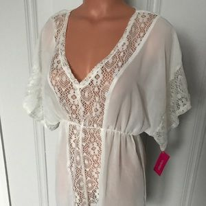 Xhilaration Sheer Boho Kaftan Swim Cover Up Dress