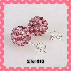 ⭐2/$10 Pink Shamballa Stud Earrings