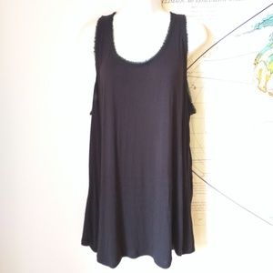 CAbi black tank XL raw edge rayon knit