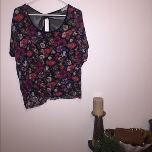 Floral and chiffon open back blouse