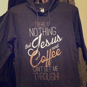 Long Sleeve Jesus Coffee Hooded Sweatshirt