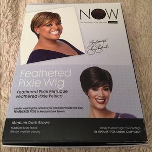 Dark Brown Sherri Shepard Feathered Pixie Wig New