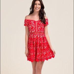 Francesca's red odd the shoulder lace dress M