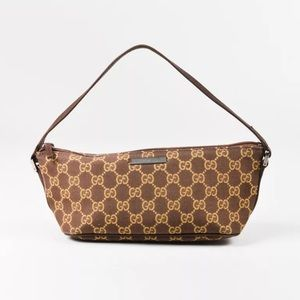 "Gucci ""GG' Monogram Canvas Leather Trim Bag"