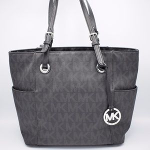 Michael Kors Jet Set Black Dark Gray Saffiano ✨✨