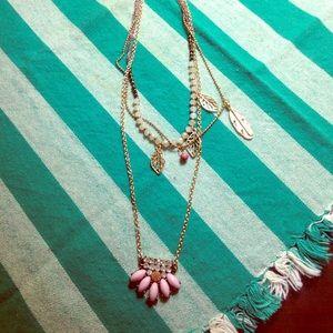 Jewelry - Three-tier pink charm necklace