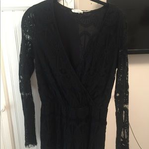 Lace black romper