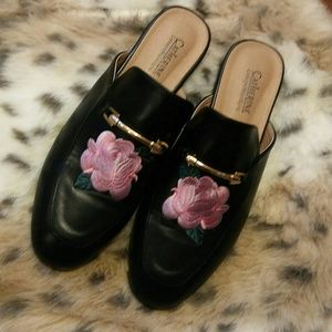 Catherine Malandrino black rose embroidered mules