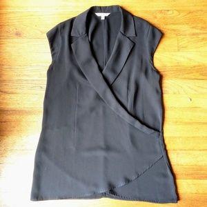 CAbi surplice blouse cap sleeve black top Medium