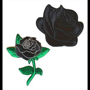 Black Rose Patches, Lot 2 iron on Patch, Applique