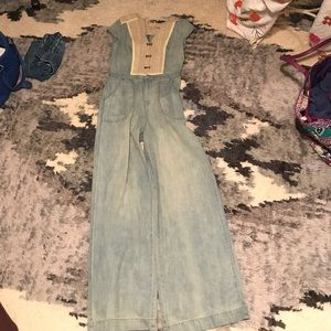 Free People wide leg denim jumpsuit
