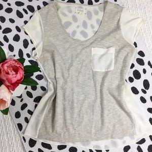 Lou & Grey Oatmeal T-Shirt with Sheer Back &Pocket