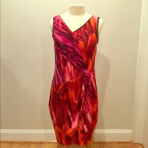 Simply Vera Wang Red Printed Sheath Dress Sz M