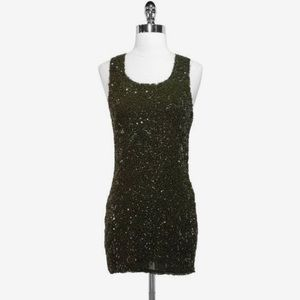 Alice + Olivia Green Sequin Tank Shift Dress