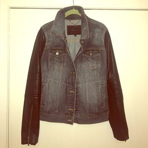BCBGMAXAZRIA Denim and Leather Jacket