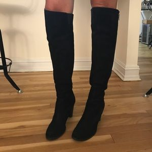 Steven by Steve Madden Black Suede Knee High Boots