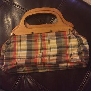 Adorable J Crew plaid handbag with wooden handles