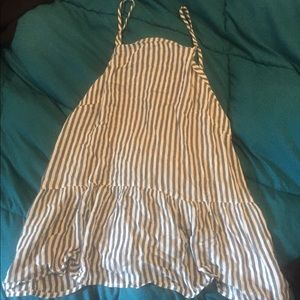 White tank top with blue stripes