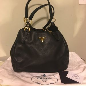 100% Authentic Prada Milano Black leather purse