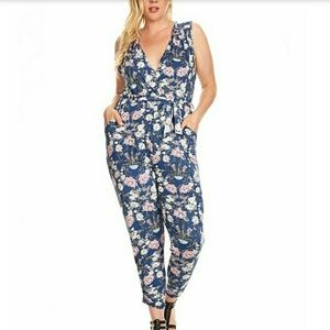 Pants - Blue and pink Floral jumpsuit  NWT