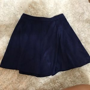 Navy blue suede skirt