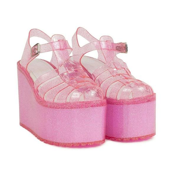136f825f85a UNIF Hella Jelly Pink Glitter Platform Sandals 7