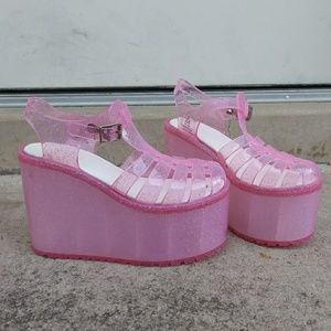 0b7073dfe331 UNIF Shoes - UNIF Hella Jelly Pink Glitter Platform Sandals 7