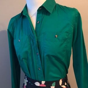 100% cotton Kelly Green button Down shirt size S