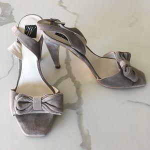ZARA ~ women's gray beige suede slingback heel 38