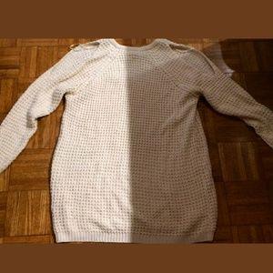 FOREVER 21 White Cold Shouder Light Knit Sweater 3