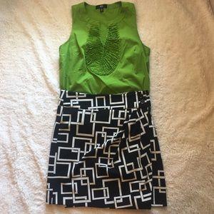 Kenar faux wrap geometric retro pattern skirt