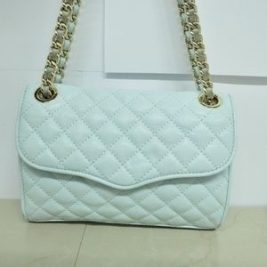 REBECCA MINKOFF Pale Blue Quilted Leather  bag